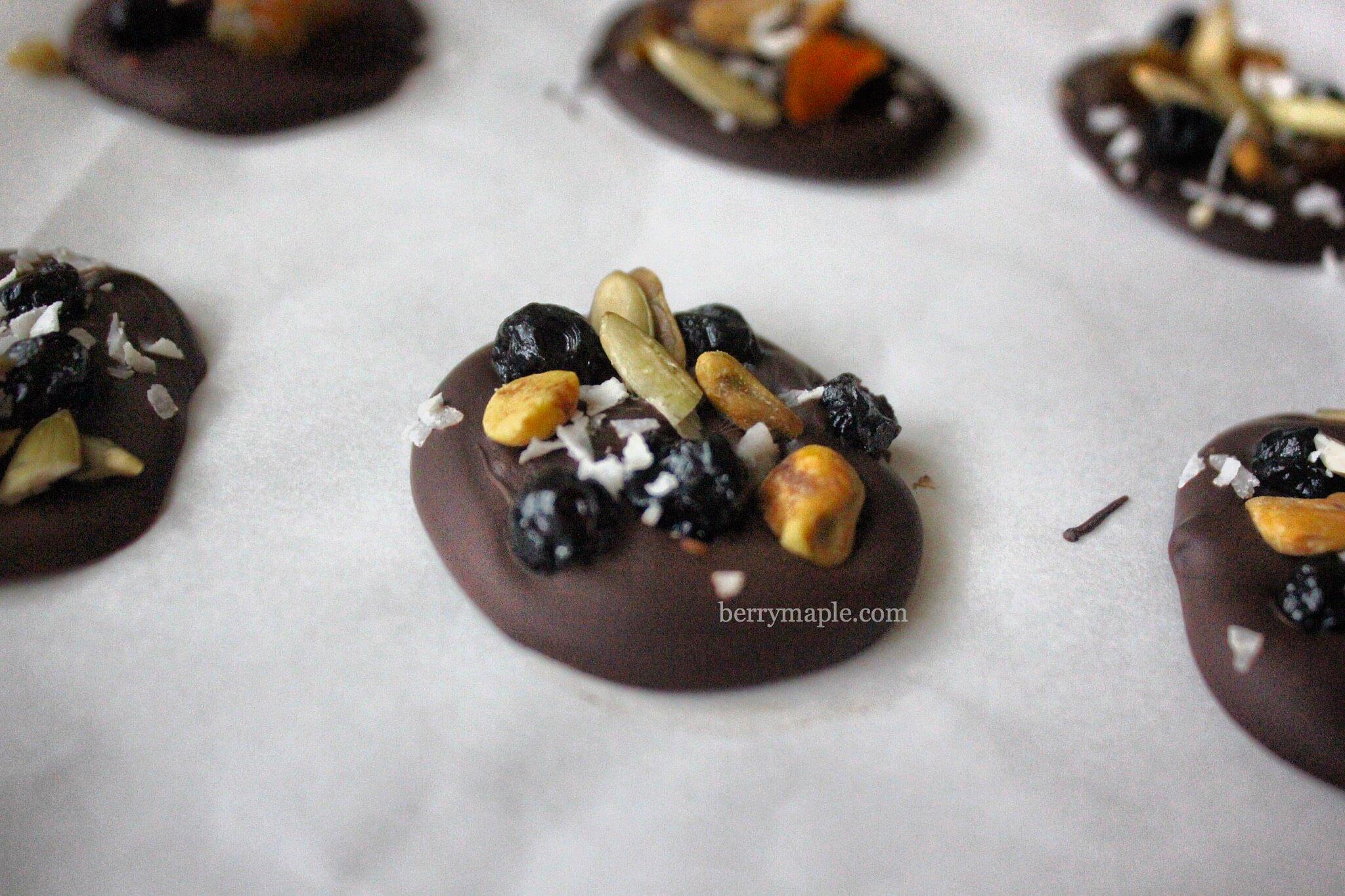 Шоколадные медальоны с сухофруктами