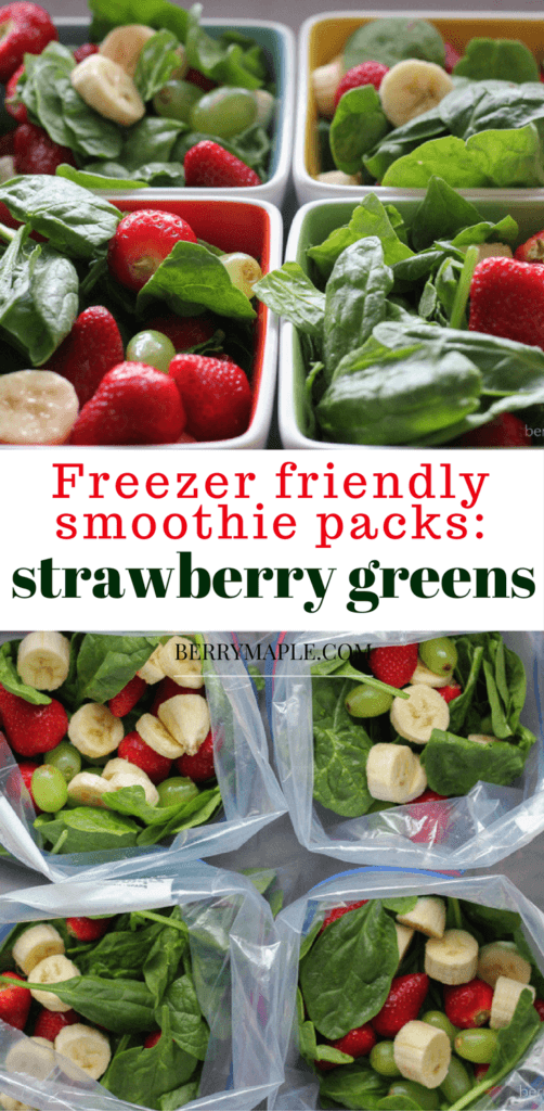Freezer strawberry greens smoothie packs
