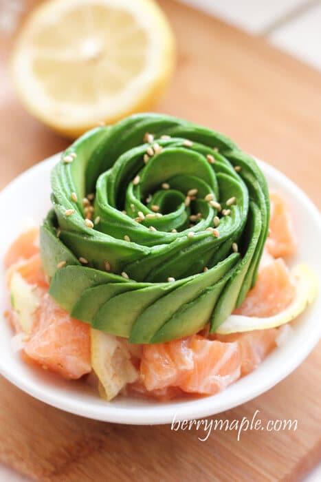 salmon ceviche with avocado