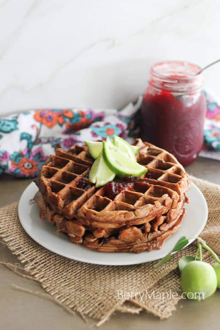 chocolate banana yogurt waffles