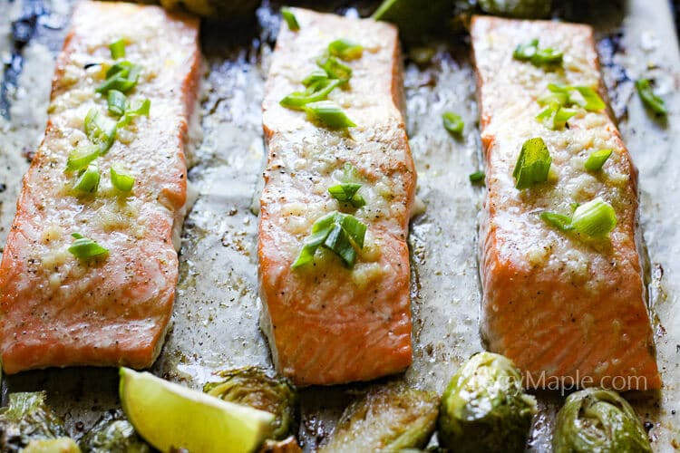 One pan buttery garlic salmon with brussels sprouts