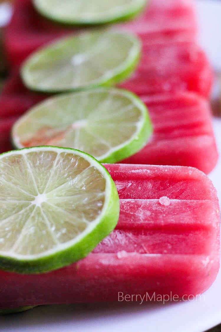 Watermelon lime honey popsicles
