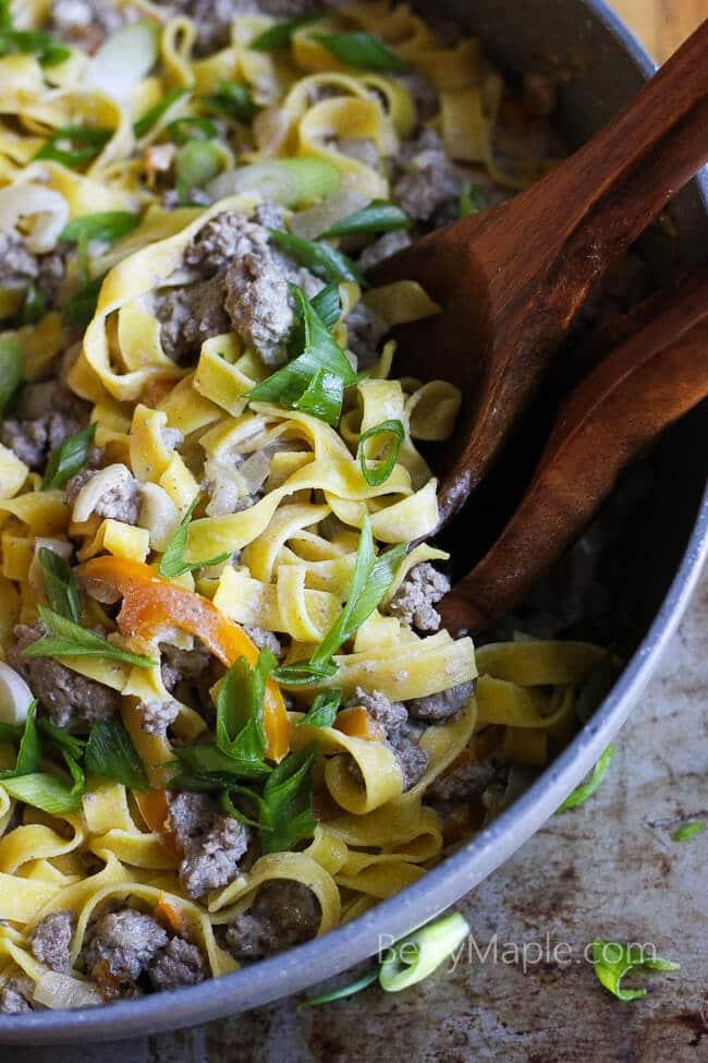 Creamy beef bell pepper pasta