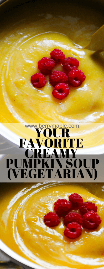 creamy pumpkin soup vegetarian raspberries