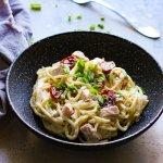 Creamy goat cheese salmon pasta recipe