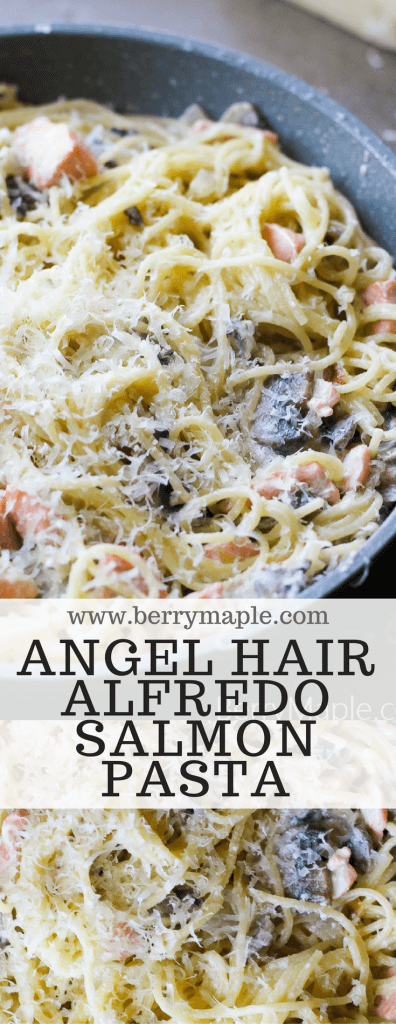 Angel hair alfredo salmon pasta