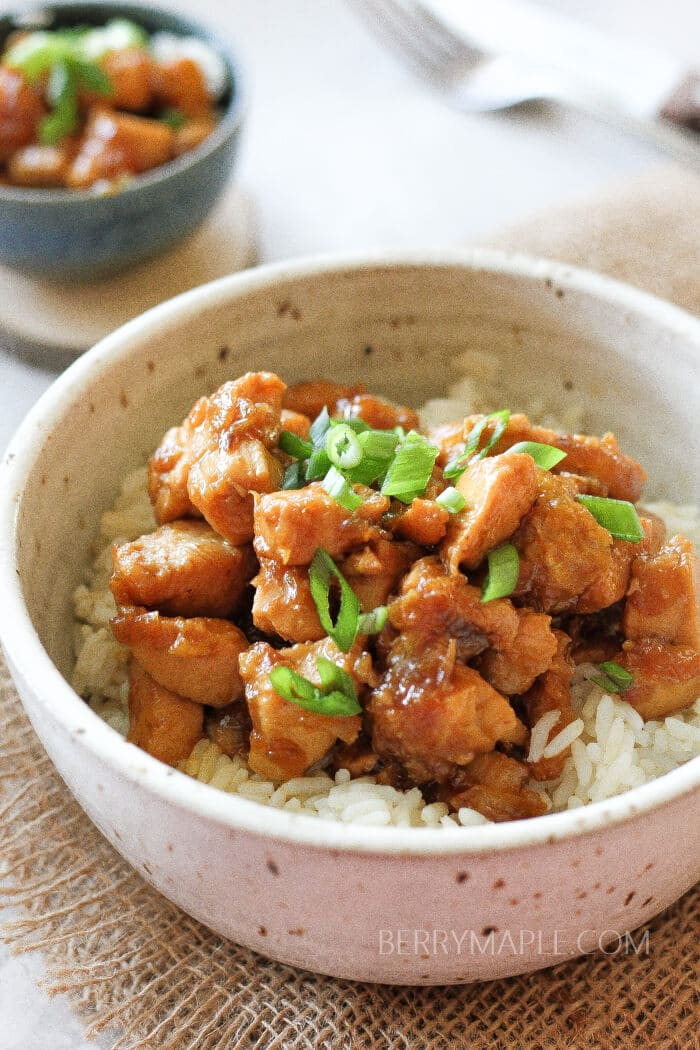caramelized orange chicken in the bowl