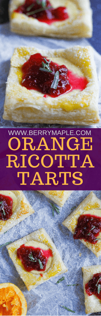 orange ricotta tarts with cranberry chunky sauce www.berrymaple.com #ad#inspiredbypuff #tarts#holidays#ricotta#cranberries