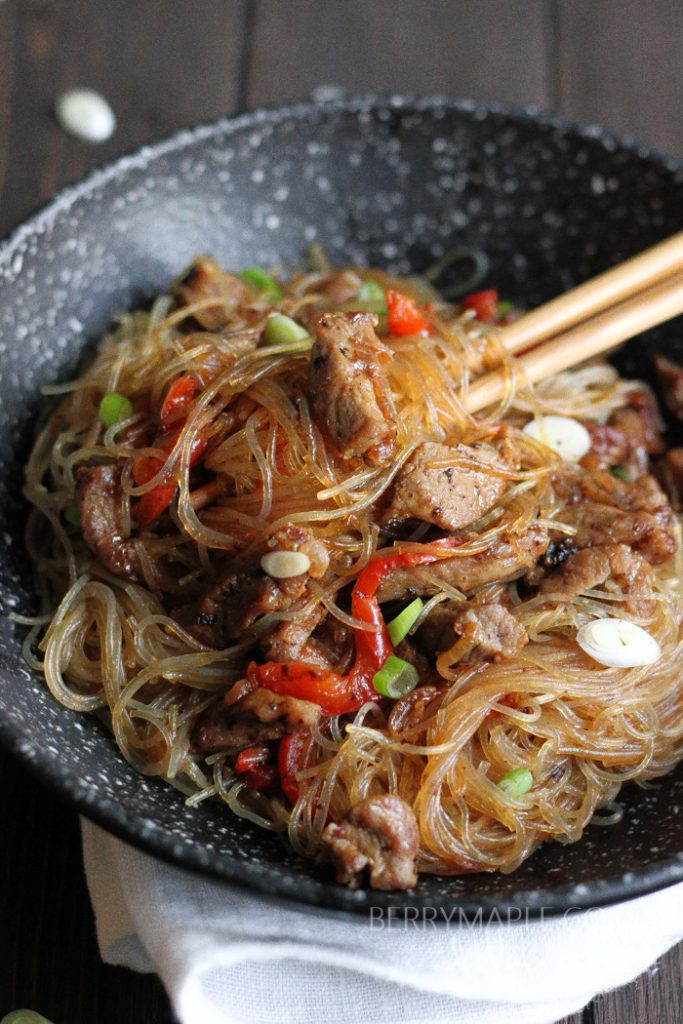 Clear noodles pork stir fry