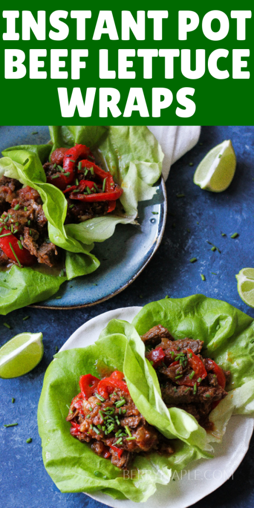 Overhead shot of lettuce cups with shredded meat inside on a blue board