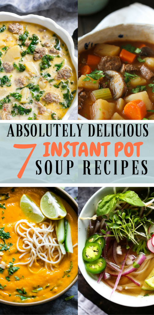 four overhead photos of soups made in instant pot