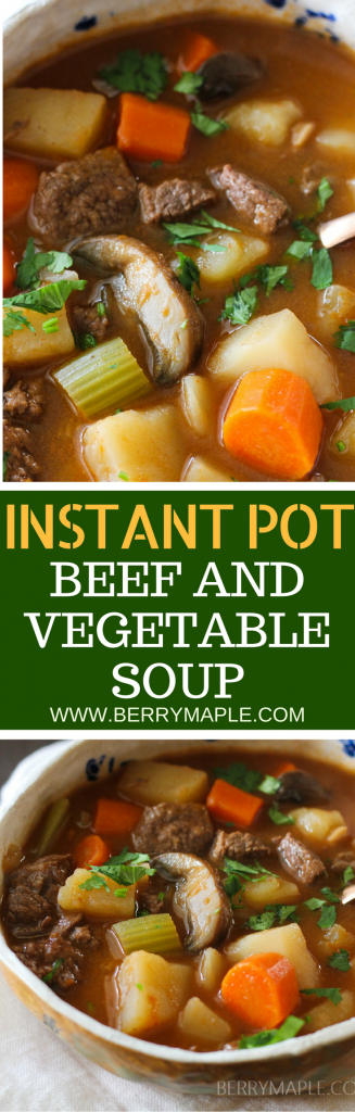 old fashioned beef and vegetable soup in instant pot with mushrooms and celery and beef