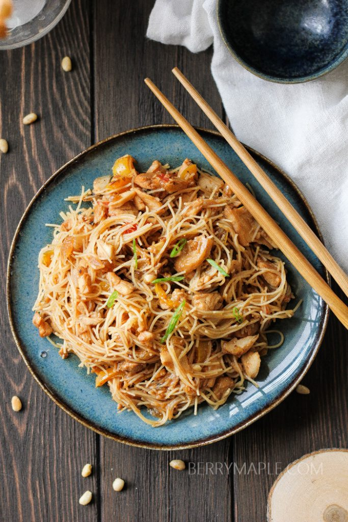 Tilapia rice noodles stir-fry