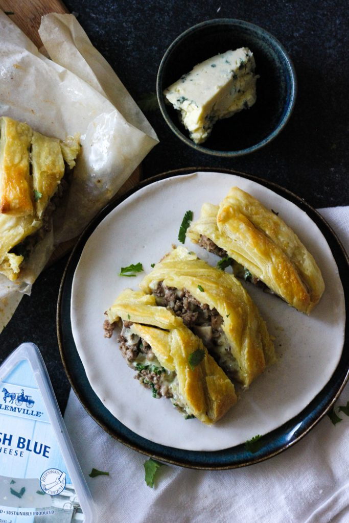 Beef blue cheese braided puff pastry