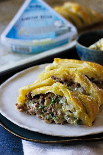 Beef blue cheese braided puff pastry recipe