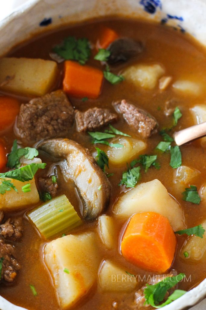 beef soup in instant pot with mushrooms, carrots, potatoes, celery