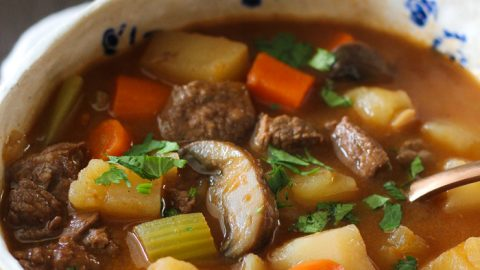 Old fashioned beef and vegetable soup in Instant Pot
