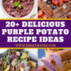 4 photos of dishes made with purple potatoes