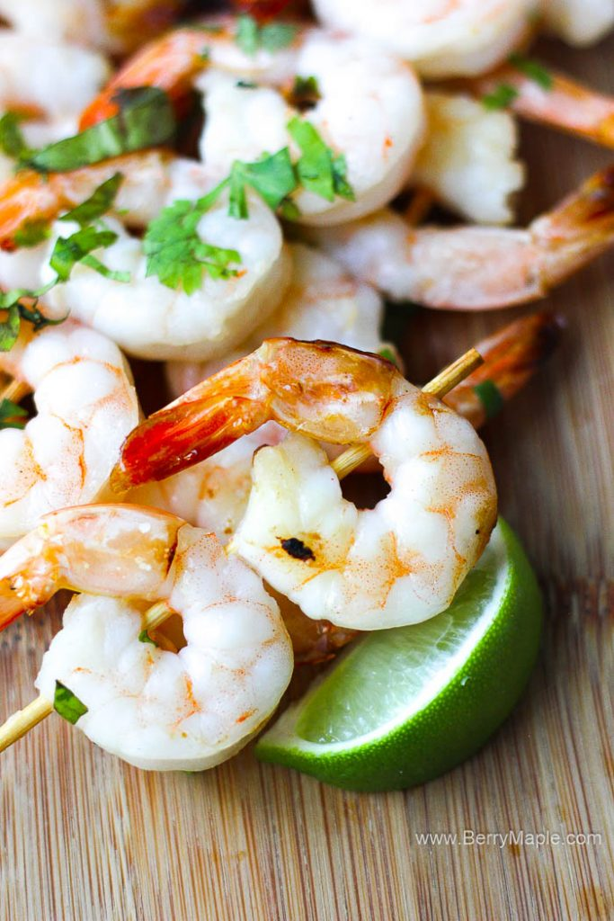 Air Fryer garlic lime shrimp skewers