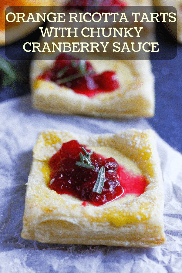 orange ricotta tarts with chunky cranberry sauce