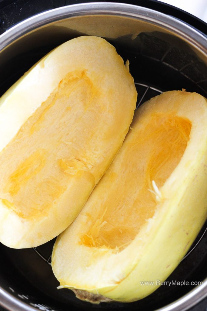 spaghetti squash inside the pot