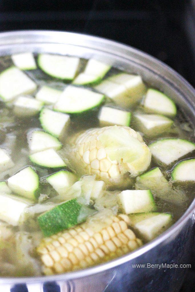 pot with caldo de res