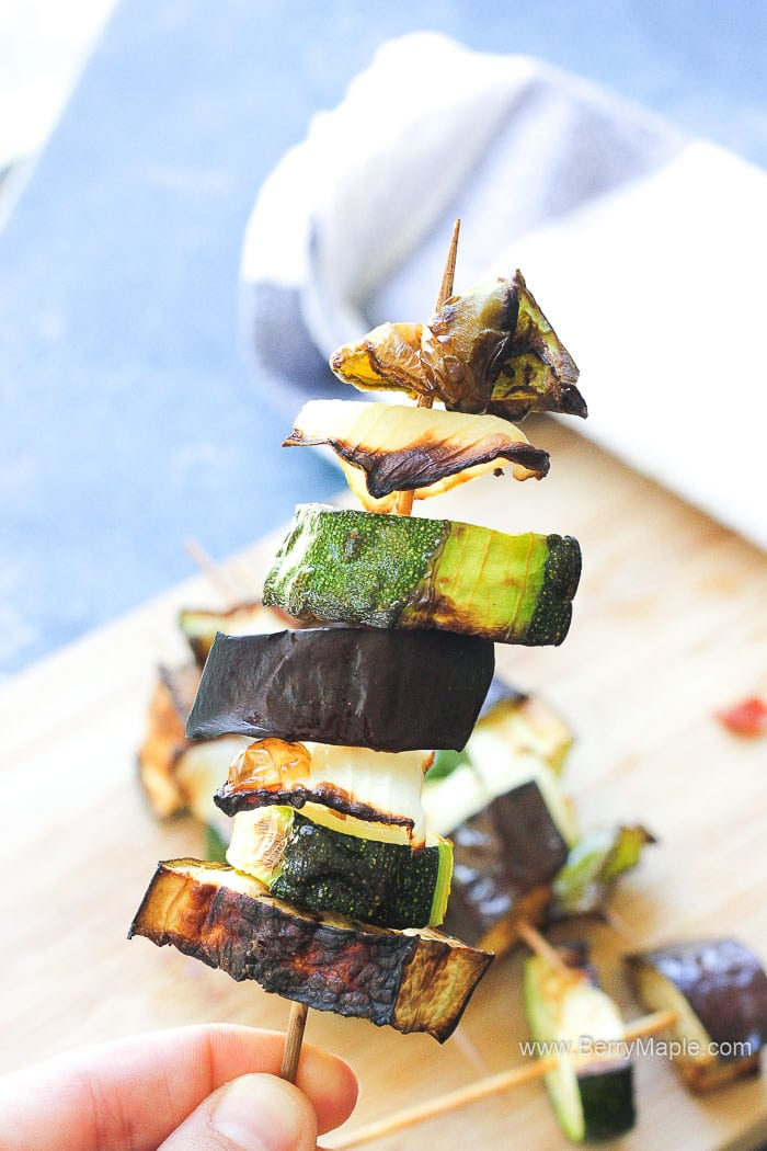 Air fryer vegetable kebabs