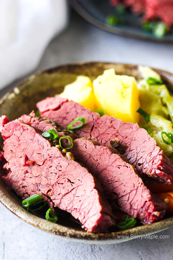 plated corned beef with cabbage
