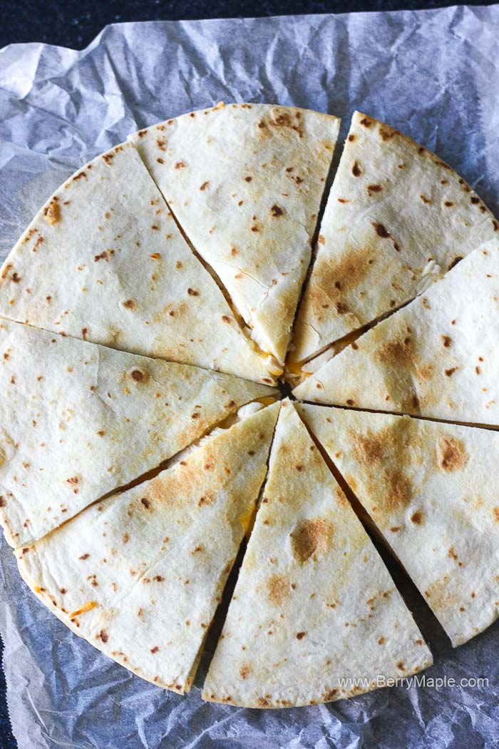 sliced tortilla top view