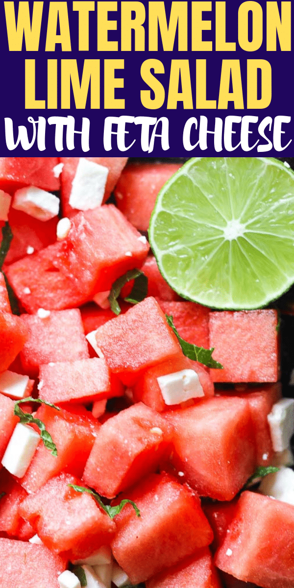feta cheese salad with watermelon and half lime