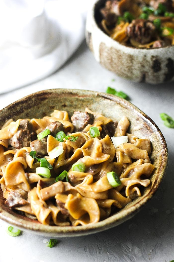 beef stroganoff in the bowl