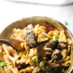 beef stroganoff on the fork