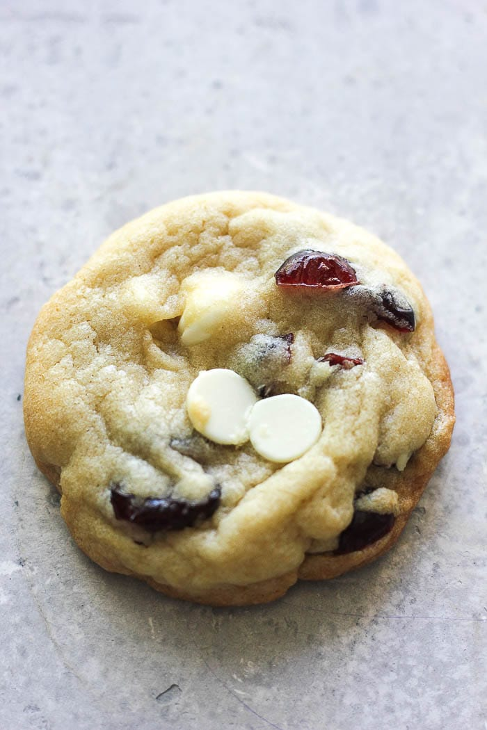 one white chocolate cranberry cookie