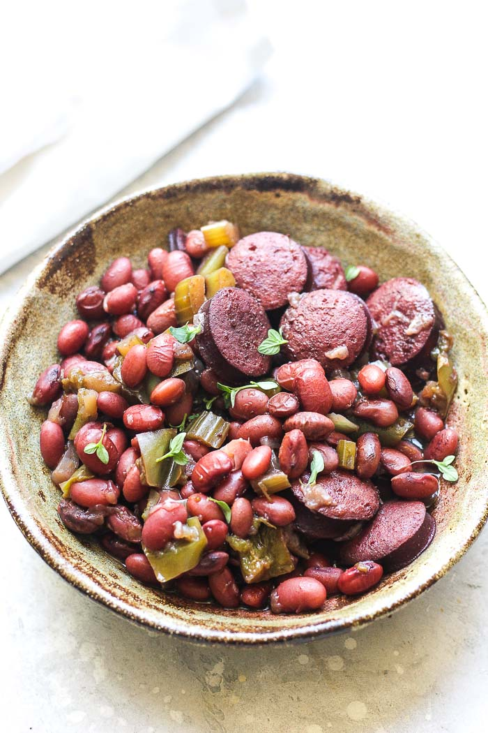 a bowl of red beans and sausage