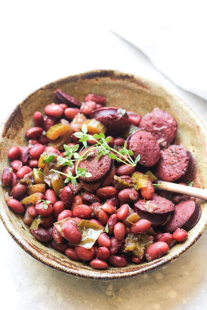 a bowl of pressure cooker smoked sausage ans red beans