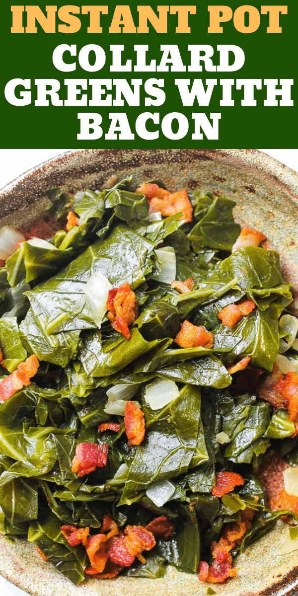 collard greens in a bowl with text overlay