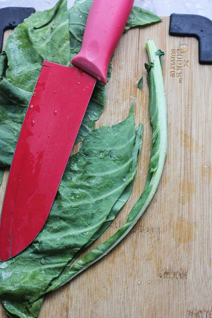 removing stem from collard greens