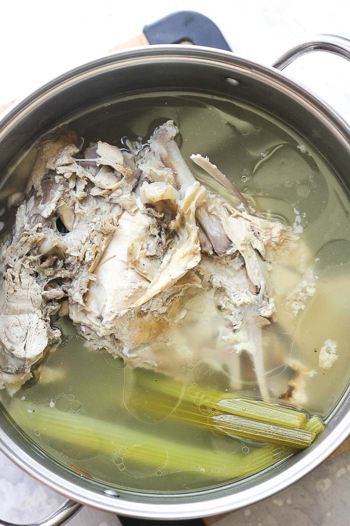 turkey broth in a pot