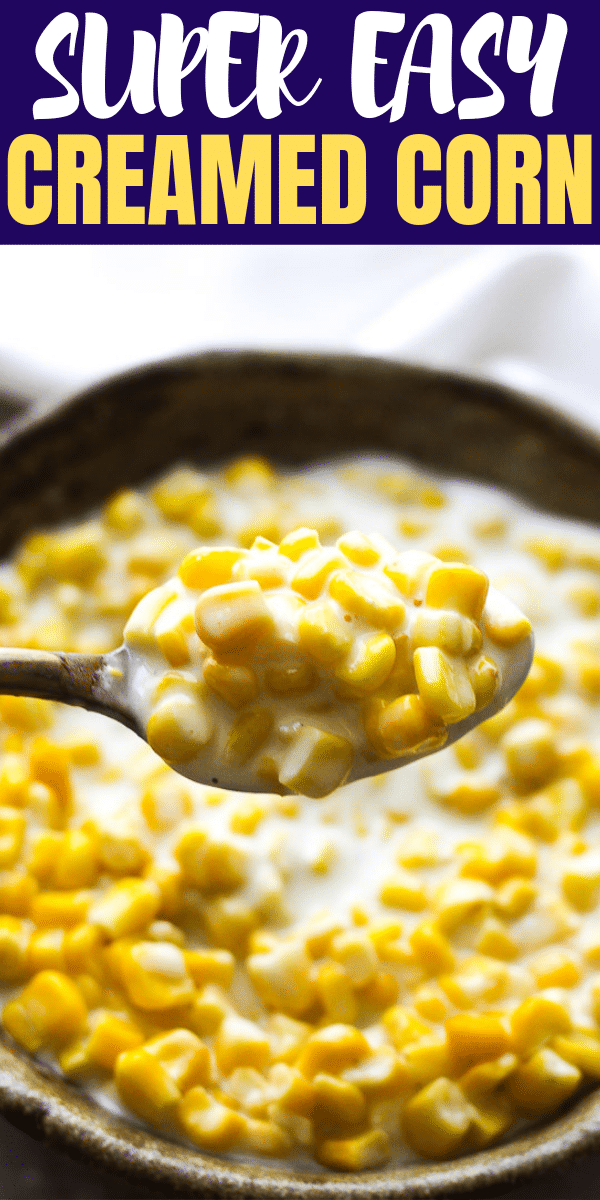 creamed corn in the spoon
