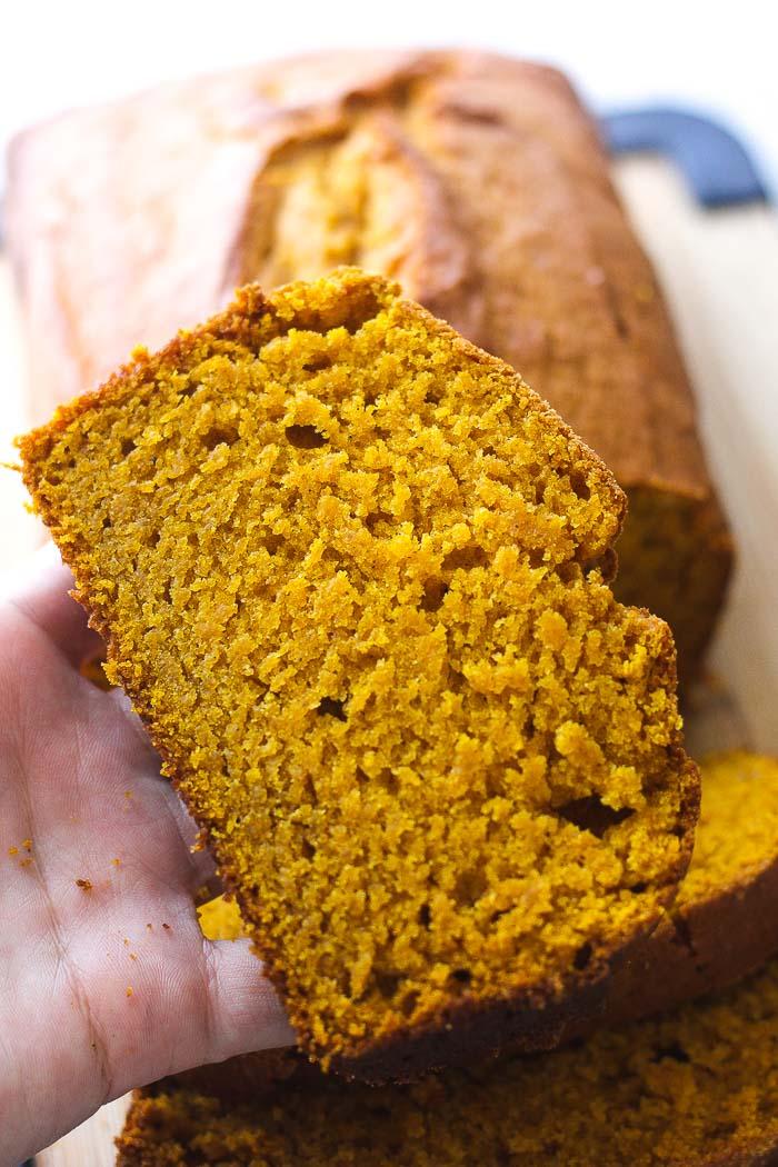a slice of pumpkin bread