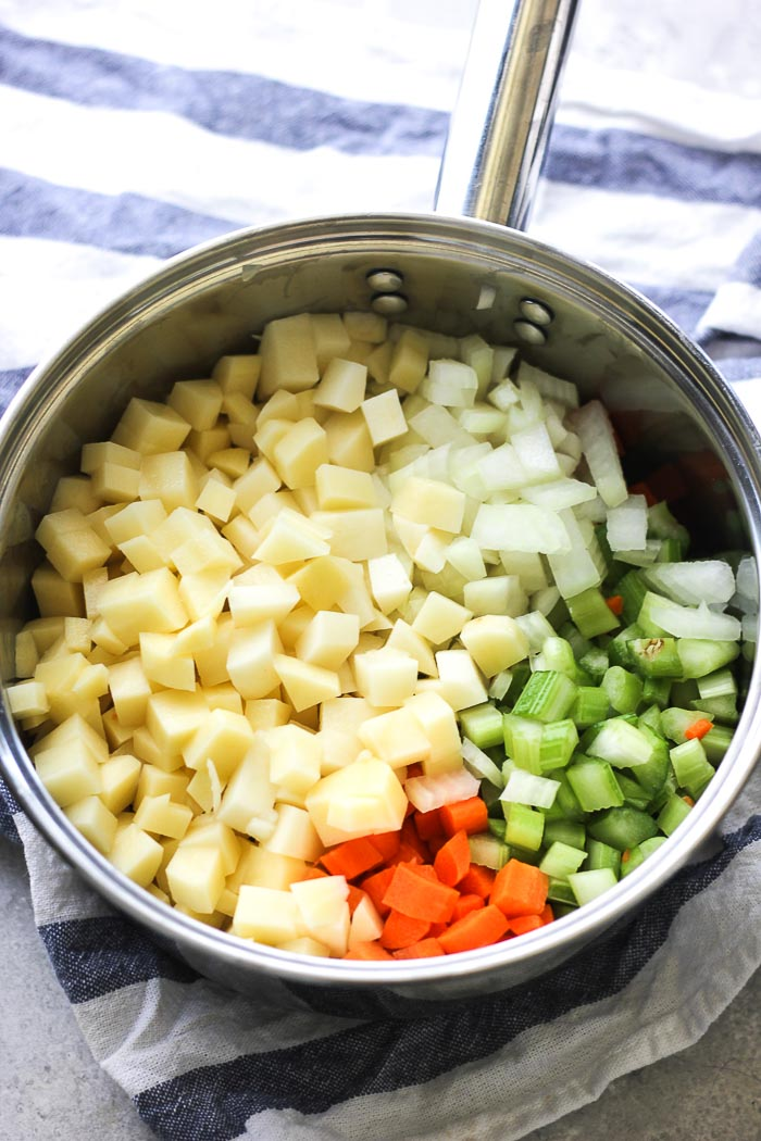 cubed vegetables for clam chowder