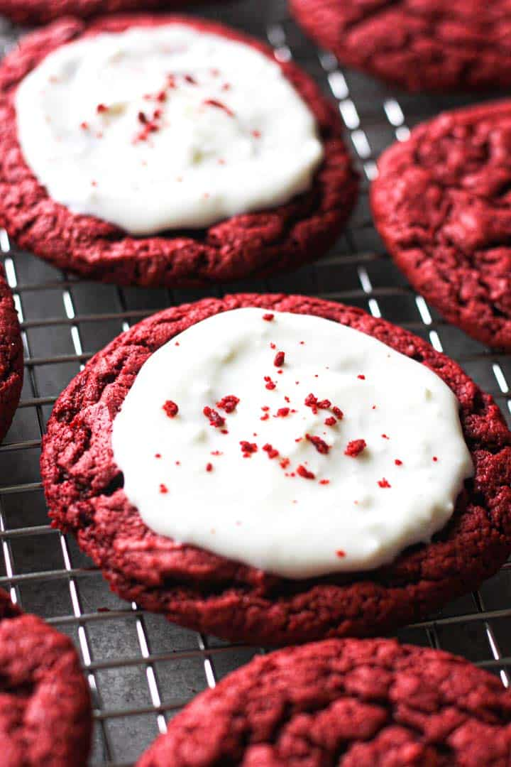 red velvet cookies on the rack