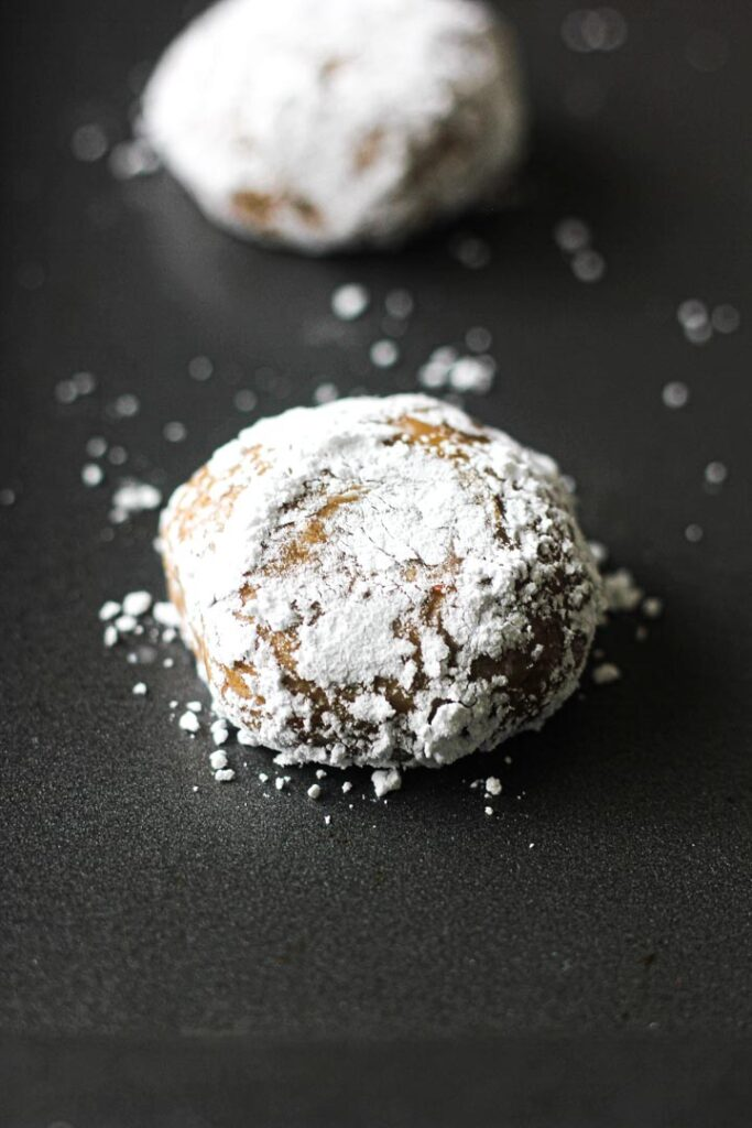 cookie ball rolled in powdered sugar