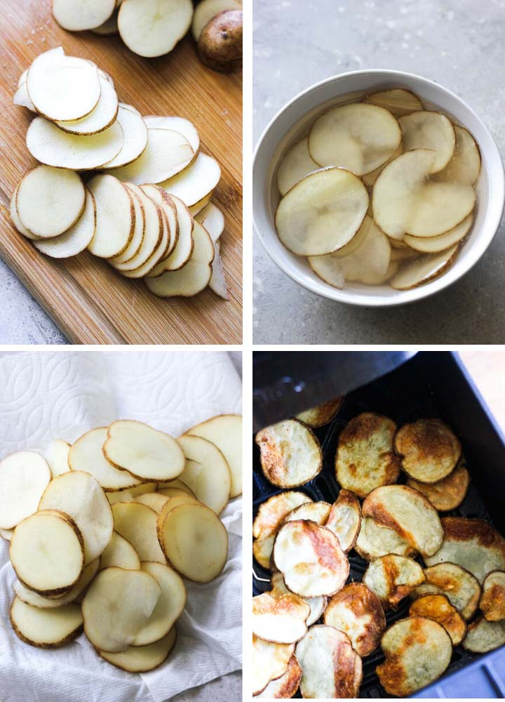 step by step photo of how to make air fryer potato chips crispy