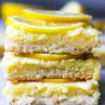 a stack of lemon bars
