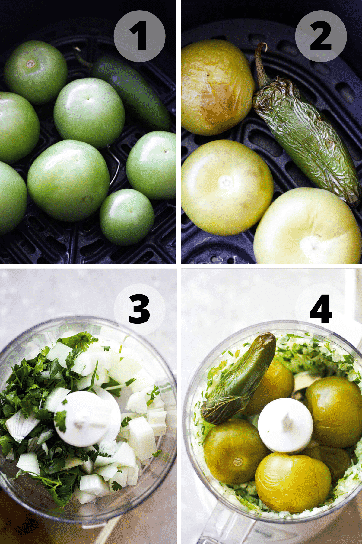 step by step collage of how to cook tomatillo salsa