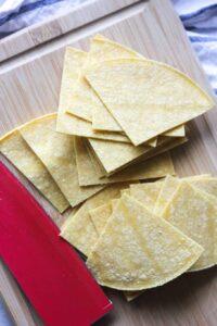 raw corn tortillas sliced