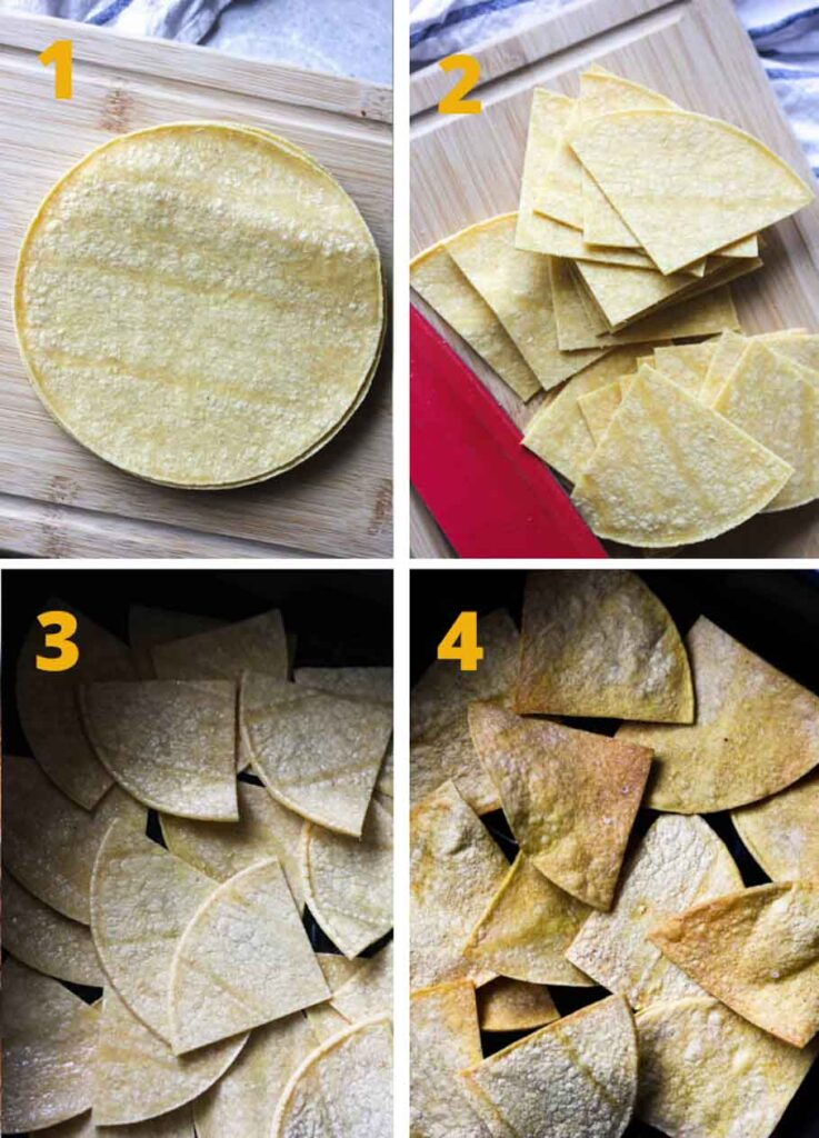 collage of step by step photos of how to make air fryer tortilla chips