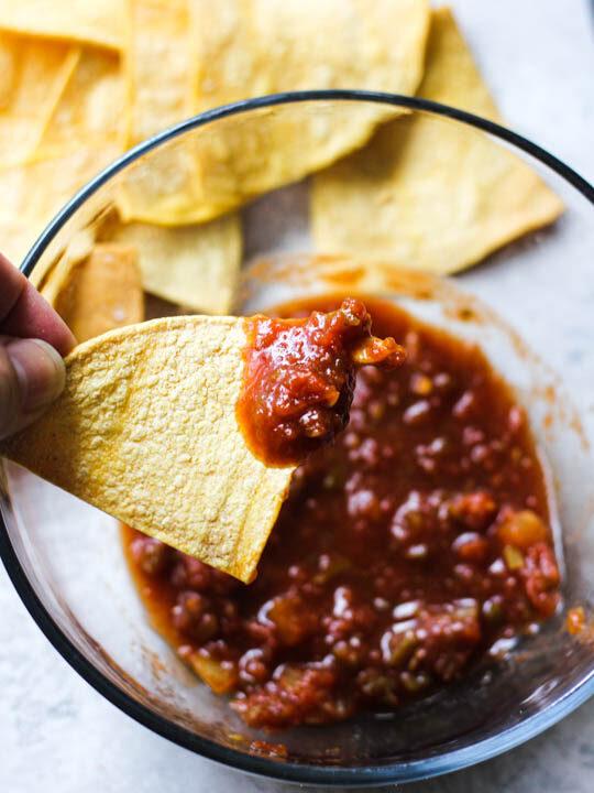 crispy air fryer tortilla chips with salsa