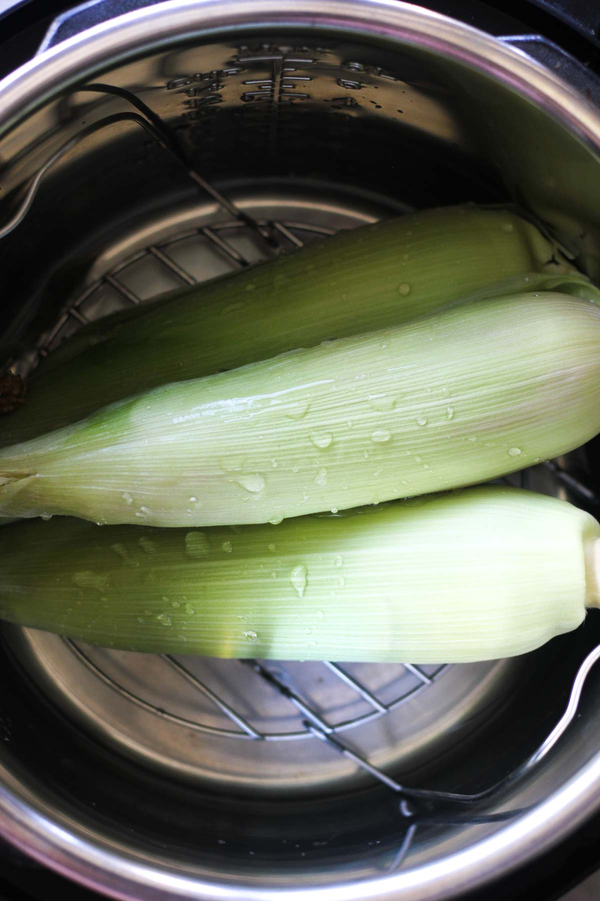 corn on the cob in husk in the instant pot inner pot with trivet